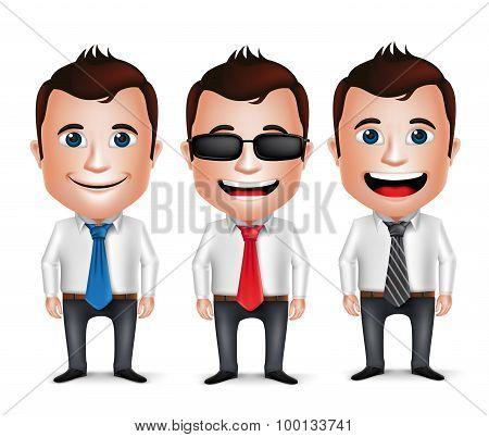 3D Realistic Businessman Cartoon Character Wearing Long sleeve Business Attire