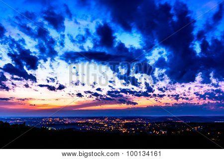 Night Landscape Representing Iasi City Illuminated At Night In Romania. View From Bucium Hill