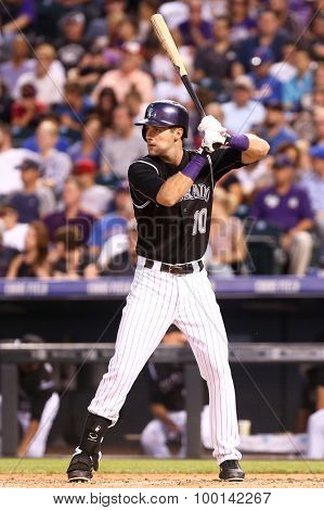 DENVER-AUG 21: Colorado Rockies infielder Ben Paulsen waits for a pitch during a game against the New York Mets at Coors Field on August 21, 2015 in Denver, Colorado.