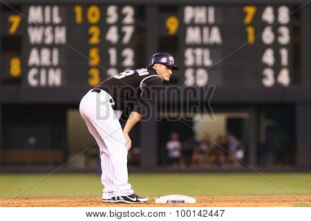 DENVER-AUG 21: Colorado Rockies infielder Nolan Arenado stands on second base during a game against the New York Mets at Coors Field on August 21, 2015 in Denver, Colorado.