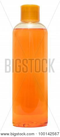 Plastic Bottle with Shampoo or hygienic cosmetic product, isolated on a white background poster