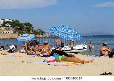 PALMA NOVA BEACH, MAJORCA, SPAIN - 25th August 2015: Palma Nova beach resort on the 25th August 2015. This is a popular and established tourist destination every summer.