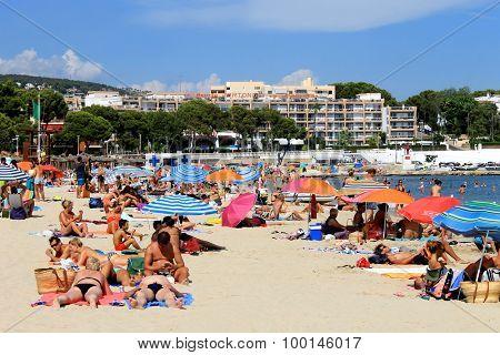 PALMA NOVA BEACH, MAJORCA, SPAIN - 24th August 2015: Palma Nova beach resort on the 24th August 2015. This is a popular and established tourist destination every summer.