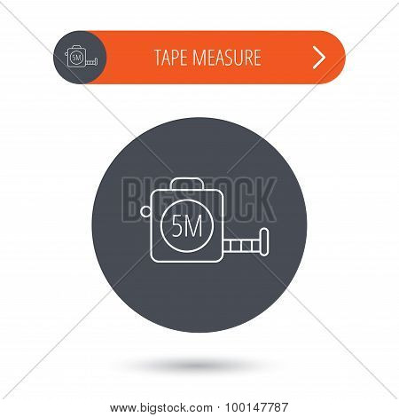 Tape measurement icon. Roll ruler sign. Gray flat circle button. Orange button with arrow. Vector poster