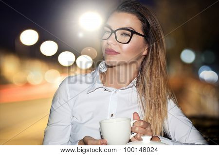 Young Elegant Girl In Restaurant.