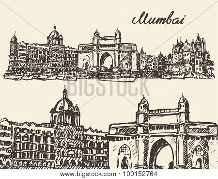 Mumbai skyline vintage vector illustration sketch
