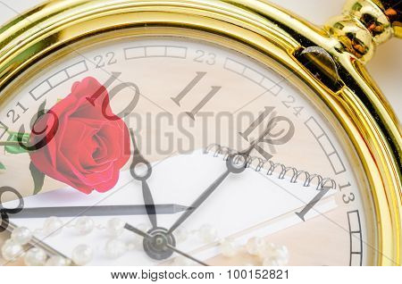 Vintage Pocket Watch With Red Rose