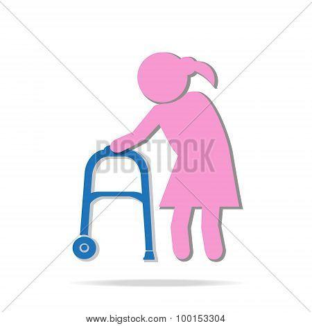 Elderly Woman And Walker Symbol, Icon  Illustration