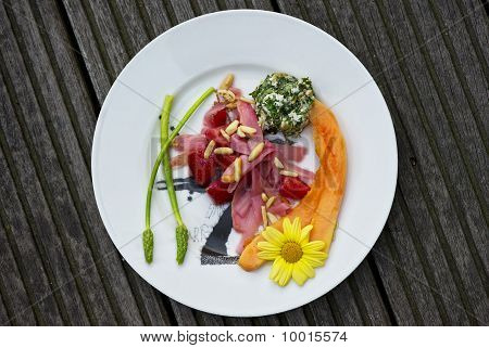 Ham and vegetable plate