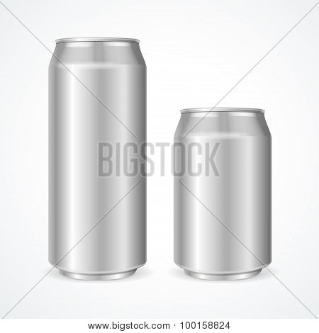 Aluminum Cans Empty 500 and 330 ml. Vector illustration poster