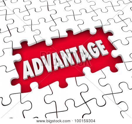 Advantage word in a puzzle open hole to illustrate your emerging competitive edge or leadership position above others in your field, market or industry