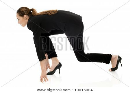 Young businesswoman on the grid on white background studio