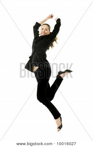 Young businesswoman jumping on white background studio