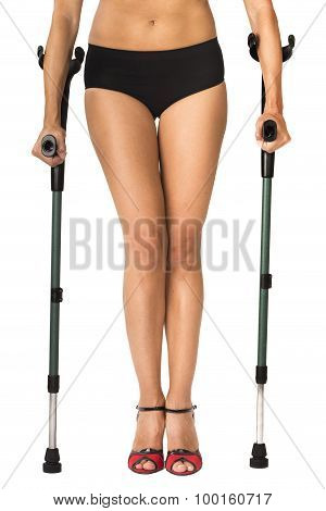 woman on crutches