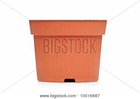 View Of An Empty Brown Flowerpot