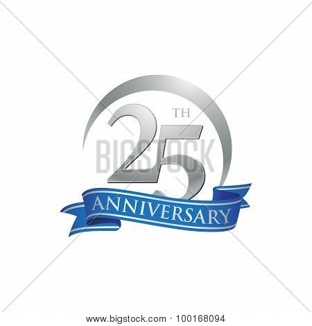 25th anniversary ring logo blue ribbon
