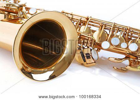 Golden saxophone, closeup