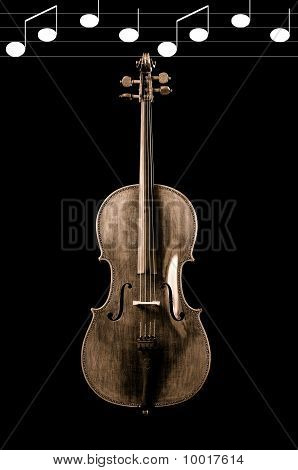 Sepia Of A Cello On A Black Background