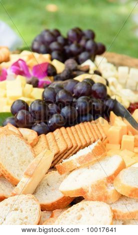 Bread, Fruit And Cheese Platter
