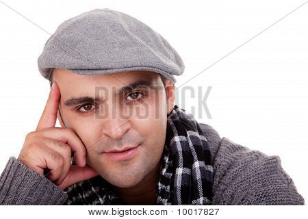 Portrait Of A Young Man , Thinking , In Autumn/winter Clothes, Isolated On White, Studio Shot