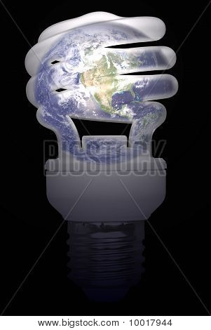 Light Bulb with Emerged Earth