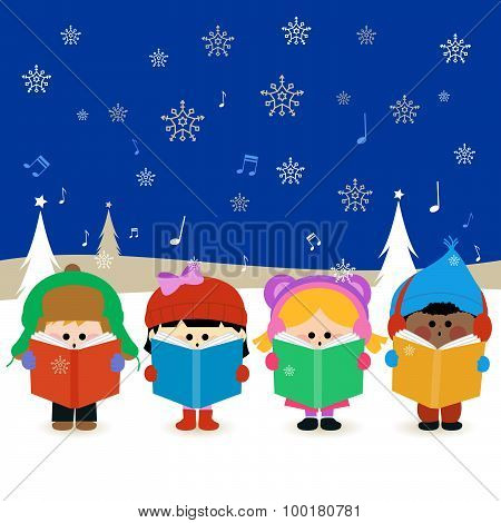 Group of children singing Christmas carols