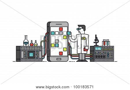 App Research Process Line Style Illustration