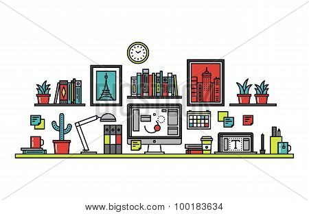 Graphic Designer Desk Line Style Illustration