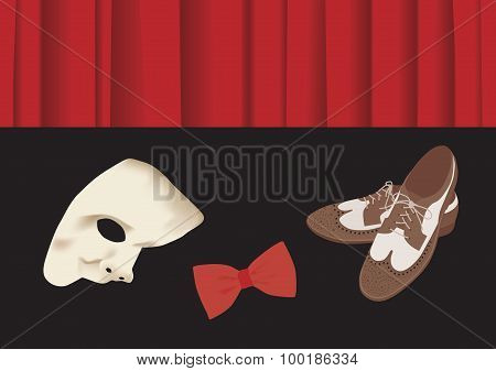 Old Fashion Shoes, Bow Tie And Phantome Mask In Front Of Stage Curtain
