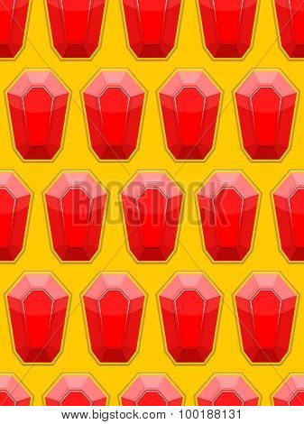 Precious Stones Seamless Background. Red Jewelry Stones Rubies. Vector Pattern