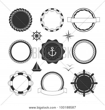 Nautical icons and badges templates