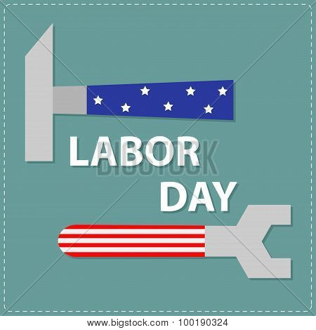 Labor Day Wrench Key And Hammer With Star  Stip Flat Design
