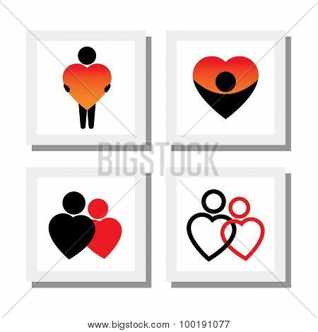 Set Of People Expressing Sympathy, Love, Empathy, Compassion - Vector Icons