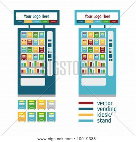 Vending Kiosk Terminal Stand Touch Screen Display white background poster