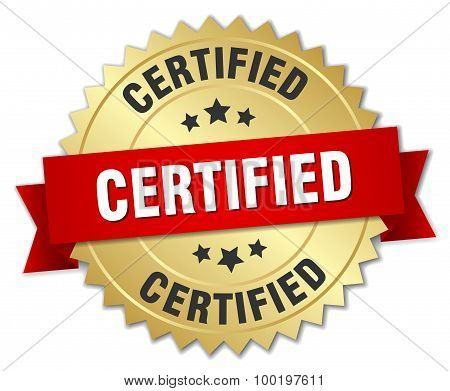 Certified 3D Gold Badge With Red Ribbon
