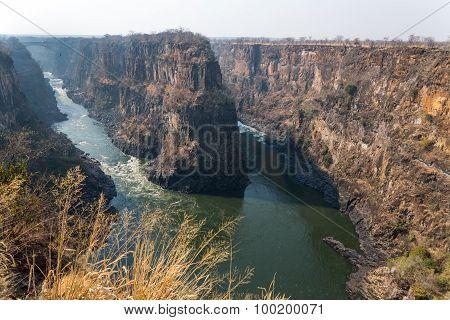 Wide angle view of Zambezi river in Zimbabwe poster