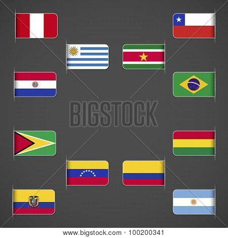 World flags collection, South America