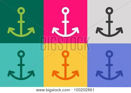 Anchor vector logo icon. Sea anchor logo. Sailor anchor tattoo, anchor symbol. Anchor company logotype. Anchor icons flat set. Vintage anchor old style template. Retro anchor shape