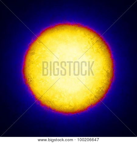 Yellow Circle With Red Edging On Dark Blue Grunge Background