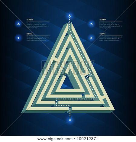 Labyrinth vector puzzle. Rebus business concept symbol poster