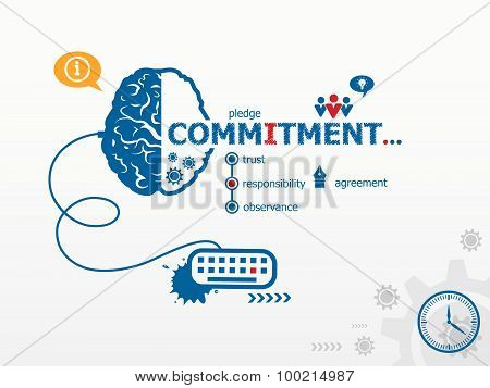poster of Commitment design illustration concepts for business consulting finance management career.