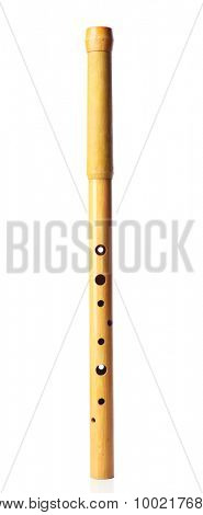 National musical woodwind instrument sopilka isolated on white
