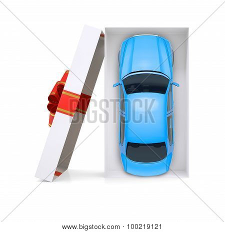 Car in open gift box on white