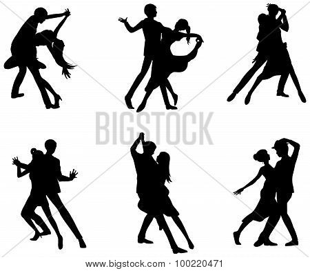 A Cartoon Silhouette Illustration Drawing Icon Set Of Dancing Couple Sport For Both Man And Woman In
