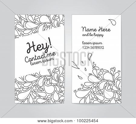 Vertical name cards with sketchy bubbles on background.