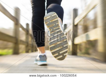 Woman Jogging Across A Country Bridge In The Morning