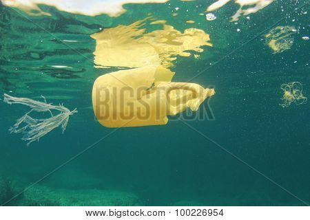 Plastic bottle disposed of in sea causes environmental damage from pollution