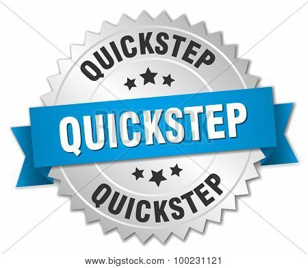 Quickstep 3D Silver Badge With Blue Ribbon