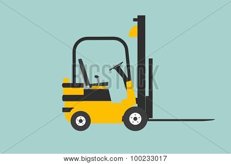 Flat Conceptual Illustration Of Yelllow Forklift