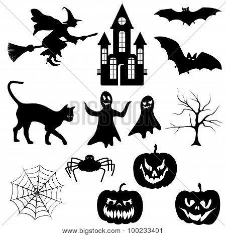halloween silhouettes set